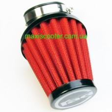 """RAD - cпортивный воздушный фильтр, """"нулевого"""" сопротивления. Диаметр = 48 мм, красный"""